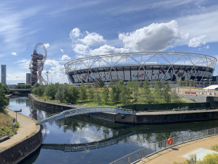 The Queen Elizabeth Olympic Park in the sunshine.