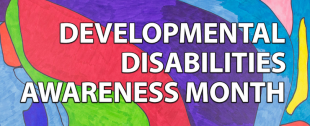 'Developmental Disabilities Awareness Month' is written in white text on a multicoloured background. This is the official artwork by Eileen Schofield.