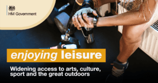 Graphic showing person with prosthetic leg, with weights on the floor. In this graphic is the HM Government logo and the following text: enjoying leisure - widening access to arts, culture, sport and the great outdoors