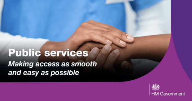 Graphic showing two people with hands on top of each other with the following wording: accessing public services - Making access as smooth and easy as possible